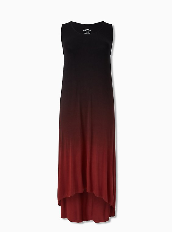 Plus Size Super Soft Rust Red Dip Dye Hi-Lo Maxi Dress, , hi-res