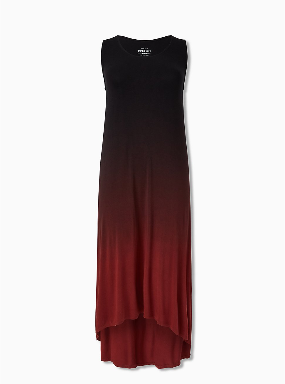 Super Soft Rust Red Dip Dye Hi-Lo Maxi Dress, MADDER BROWN, hi-res
