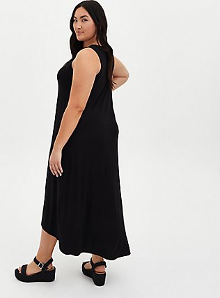Plus Size Super Soft Black Hi-Lo Maxi Dress, DEEP BLACK, alternate