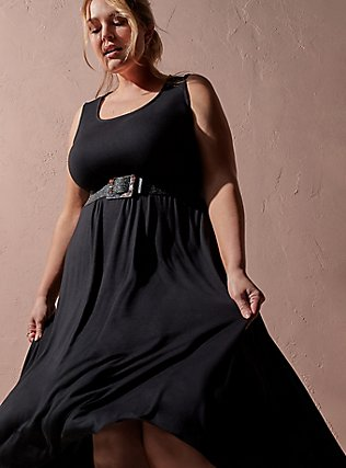 Plus Size Super Soft Black Hi-Lo Maxi Dress, DEEP BLACK, pdped