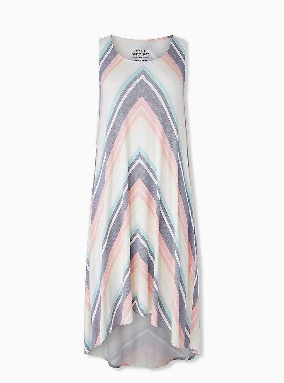 Plus Size Super Soft Pastel Chevron Stripe Hi-Lo Maxi Dress, , hi-res