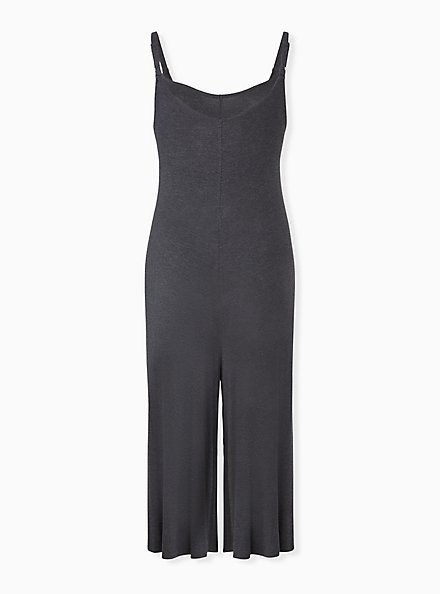 Super Soft Charcoal Grey Culotte Jumpsuit, CHARCOAL HEATHER, alternate