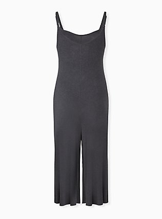 Super Soft Charcoal Grey Culotte Jumpsuit, CHARCOAL HEATHER, alternate