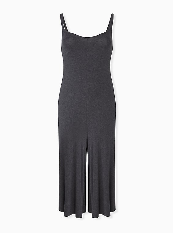 Plus Size Super Soft Charcoal Grey Culotte Jumpsuit, , hi-res