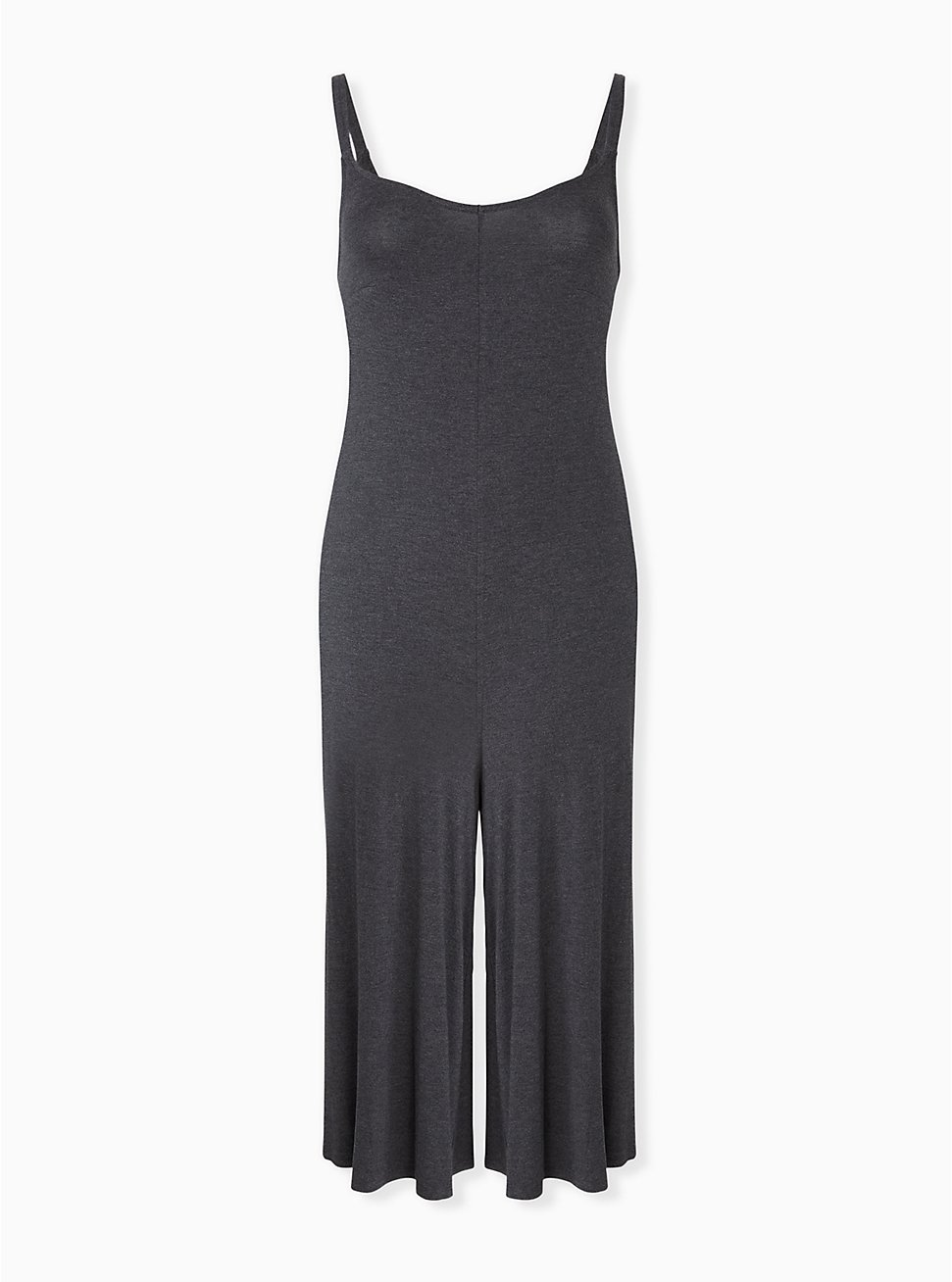 Super Soft Charcoal Grey Culotte Jumpsuit, CHARCOAL HEATHER, hi-res
