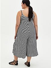 Super Soft Black & White Stripe Culotte Jumpsuit, STRIPE-BLACK WHITE, alternate