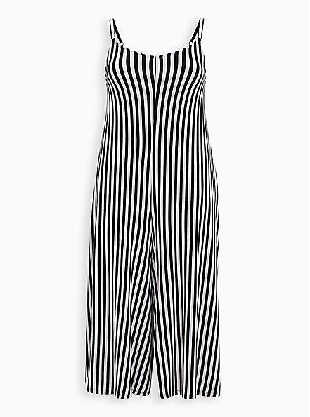 Super Soft Black & White Stripe Culotte Jumpsuit, STRIPE-BLACK WHITE, hi-res