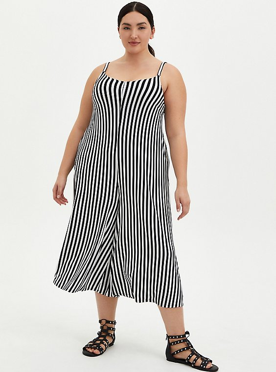 Super Soft Black & White Stripe Culotte Jumpsuit, , hi-res