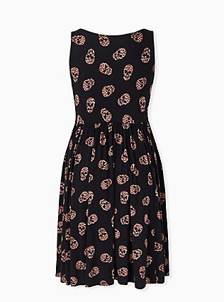 Black Leopard Skull Jersey Skater Dress, LEOPARD-BLACK, alternate
