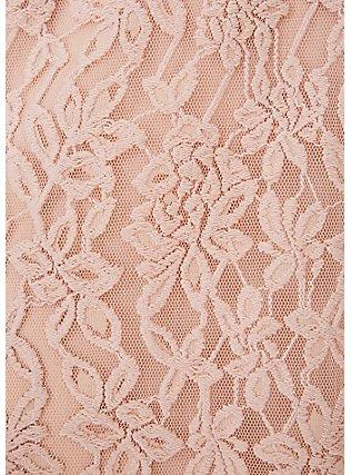 Plus Size Pale Pink Lace Midi Dress, ROSE DUST, alternate