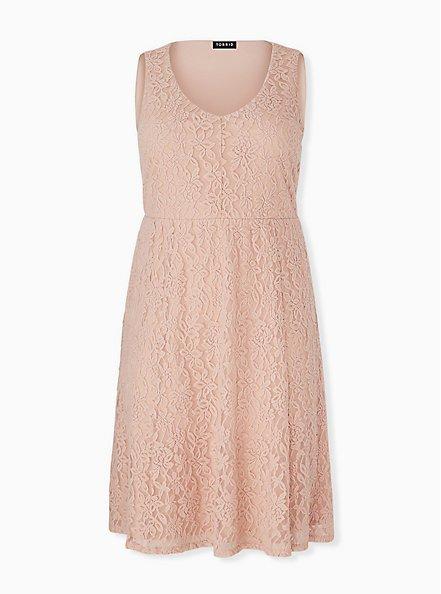 Pale Pink Lace Midi Dress, ROSE DUST, hi-res