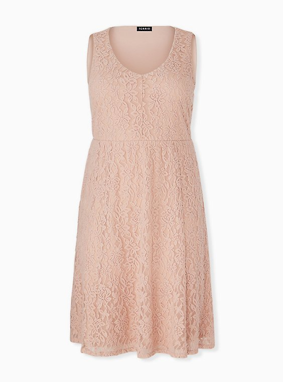 Plus Size Pale Pink Lace Midi Dress, , hi-res