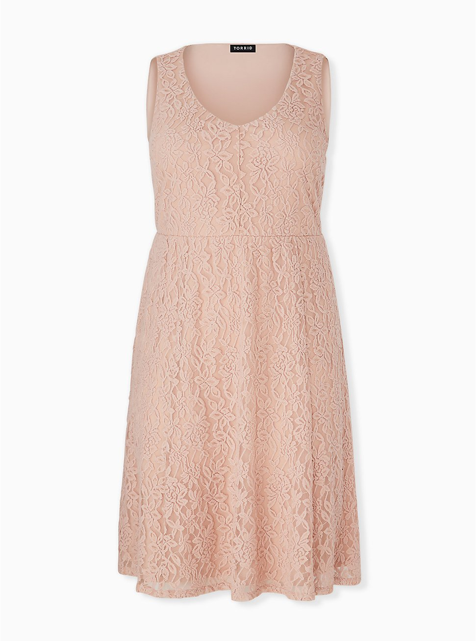 Plus Size Pale Pink Lace Midi Dress, ROSE DUST, hi-res