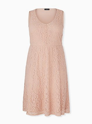 Pale Pink Lace Midi Dress, ROSE DUST, hi-res