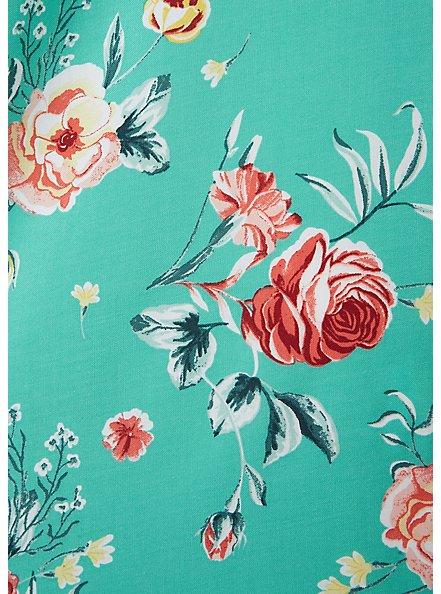 Turquoise Floral Challis Mini Trapeze Dress, FLORALS-BLUE, alternate