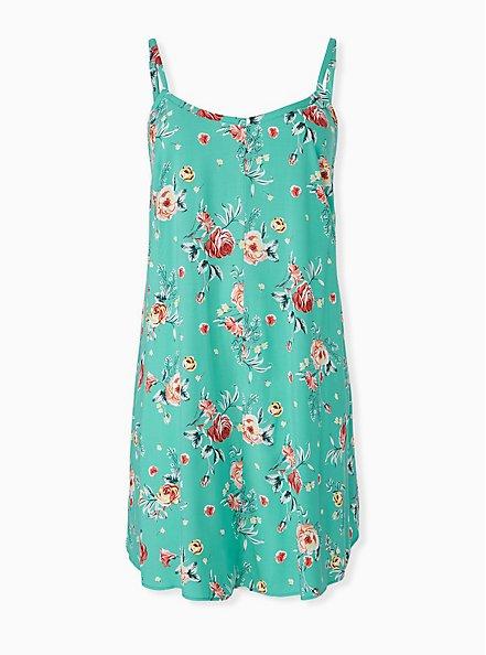 Turquoise Floral Challis Mini Trapeze Dress, FLORALS-BLUE, hi-res