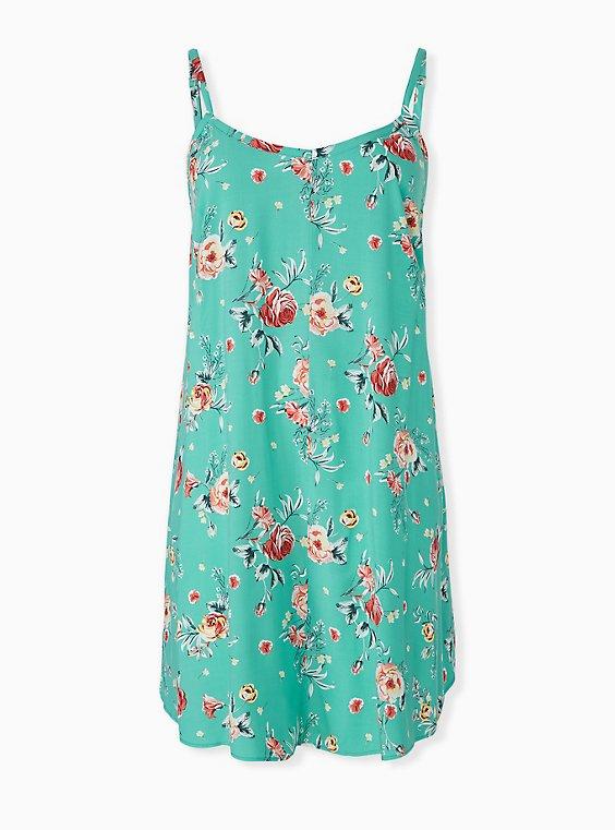 Plus Size Turquoise Floral Challis Mini Trapeze Dress, , hi-res