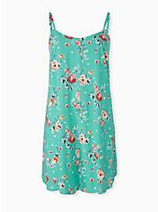 Plus Size Turquoise Floral Challis Mini Trapeze Dress, FLORALS-BLUE, hi-res