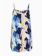 Multi Brushstroke Challis Mini Trapeze Dress, , alternate