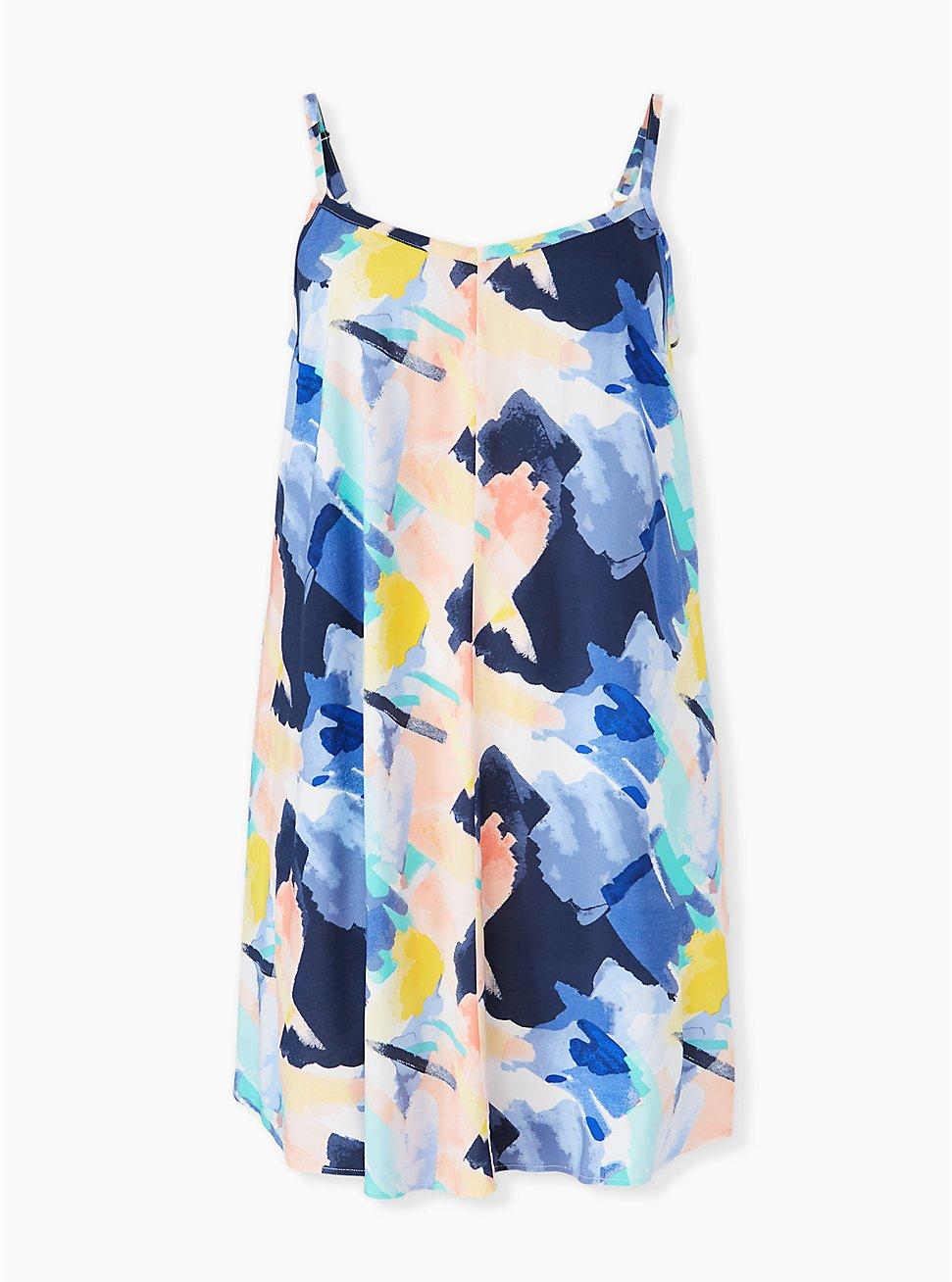 Multi Brushstroke Challis Mini Trapeze Dress, , hi-res