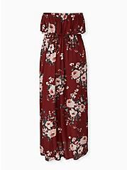 Brick Red Floral Challis Strapless Maxi Dress, FLORALS-BROWN, alternate