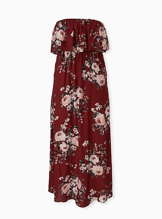 Brick Red Floral Challis Strapless Maxi Dress, , hi-res