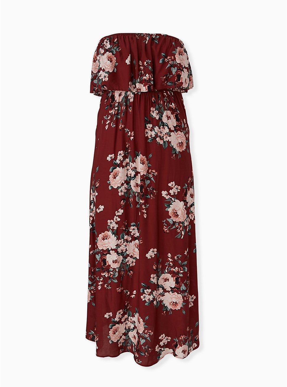 Brick Red Floral Challis Strapless Maxi Dress, FLORALS-BROWN, hi-res