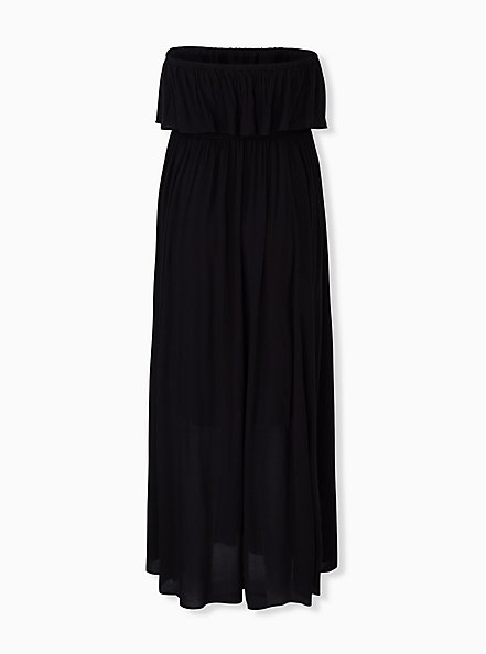 Black Challis Strapless Maxi Dress, DEEP BLACK, alternate
