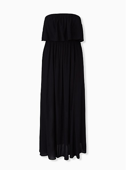 Black Challis Strapless Maxi Dress, DEEP BLACK, hi-res