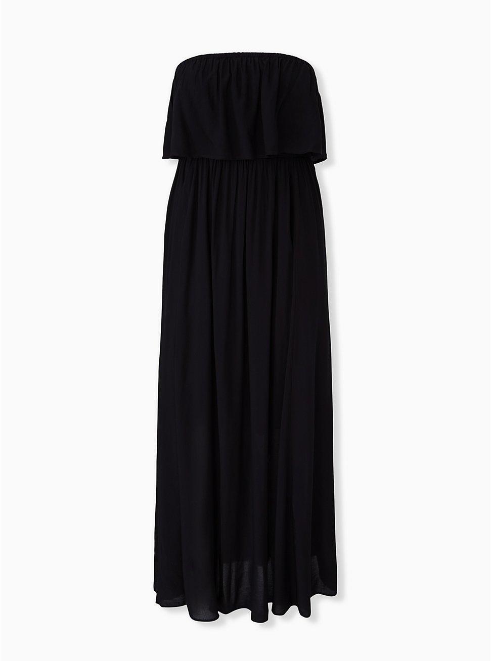 Plus Size Black Challis Strapless Maxi Dress, DEEP BLACK, hi-res