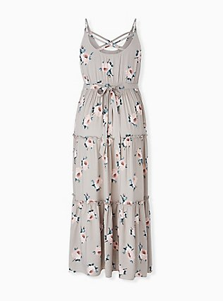 Taupe Floral Challis Tiered Maxi Dress, , alternate