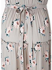Plus Size Taupe Floral Challis Tiered Maxi Dress, , alternate