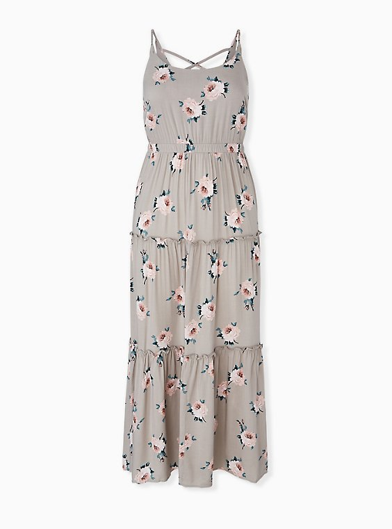 Plus Size Taupe Floral Challis Tiered Maxi Dress, , hi-res