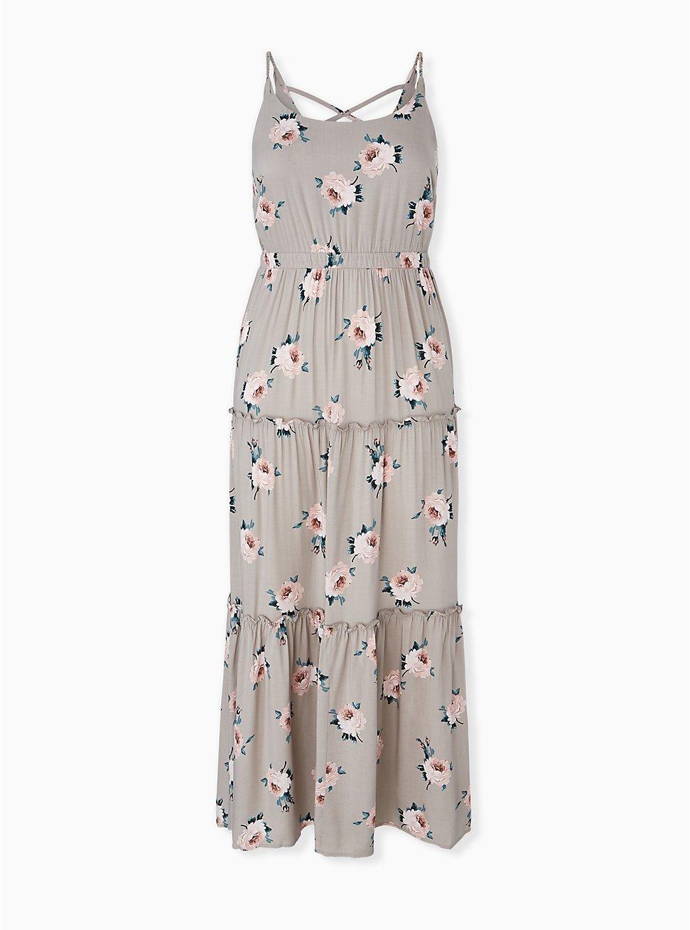 Plus Size Taupe Floral Challis Tiered Maxi Dress, , hi-res