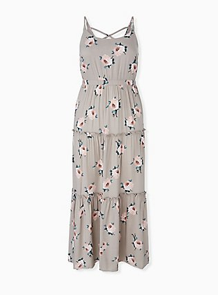 Taupe Floral Challis Tiered Maxi Dress, , hi-res