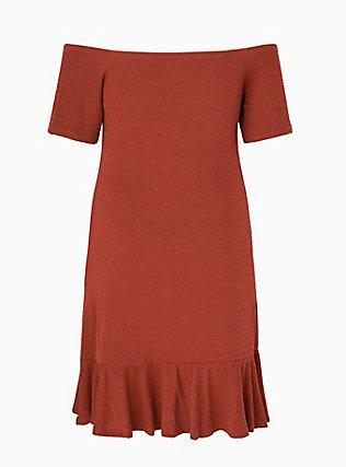 Brick Red Smocked Off Shoulder Bodycon Dress, MADDER BROWN, alternate
