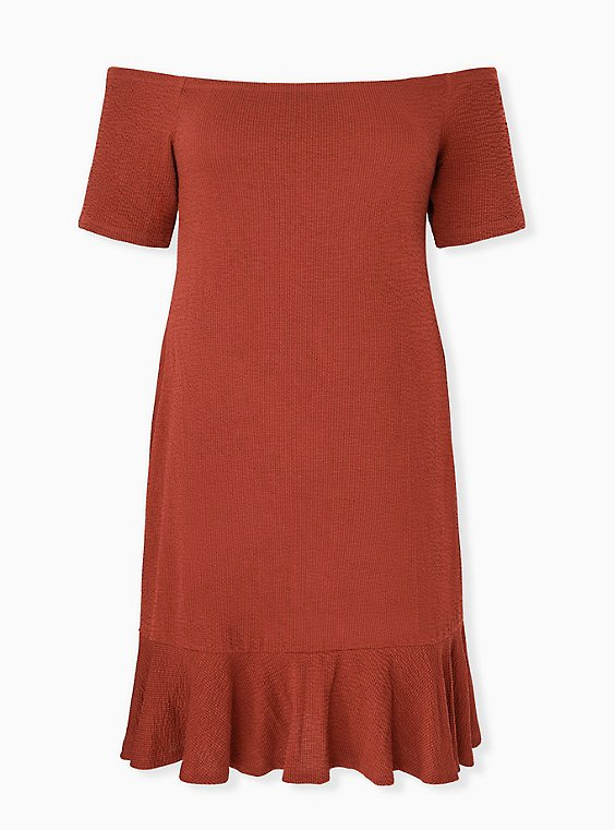 Brick Red Smocked Off Shoulder Bodycon Dress, , hi-res