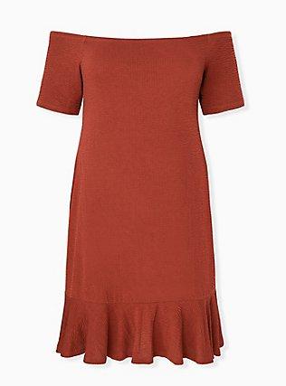 Brick Red Smocked Off Shoulder Bodycon Dress, MADDER BROWN, hi-res