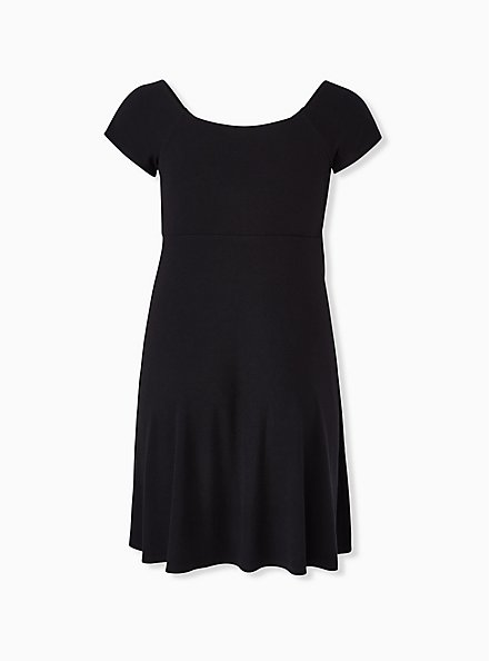 Plus Size Black Rib Tie Front Skater Dress, DEEP BLACK, alternate