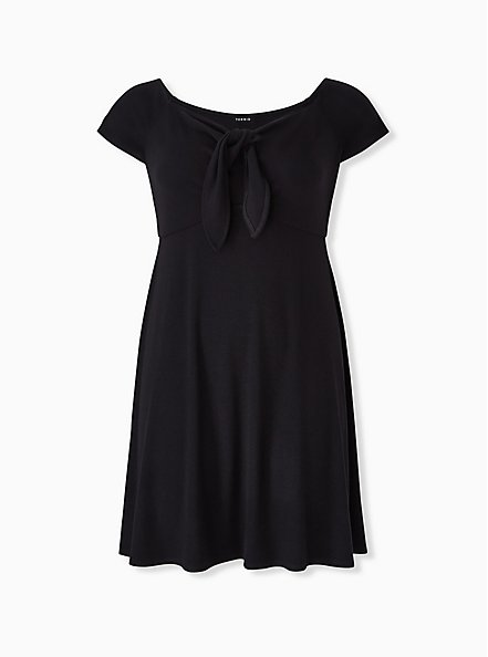 Plus Size Black Rib Tie Front Skater Dress, DEEP BLACK, hi-res