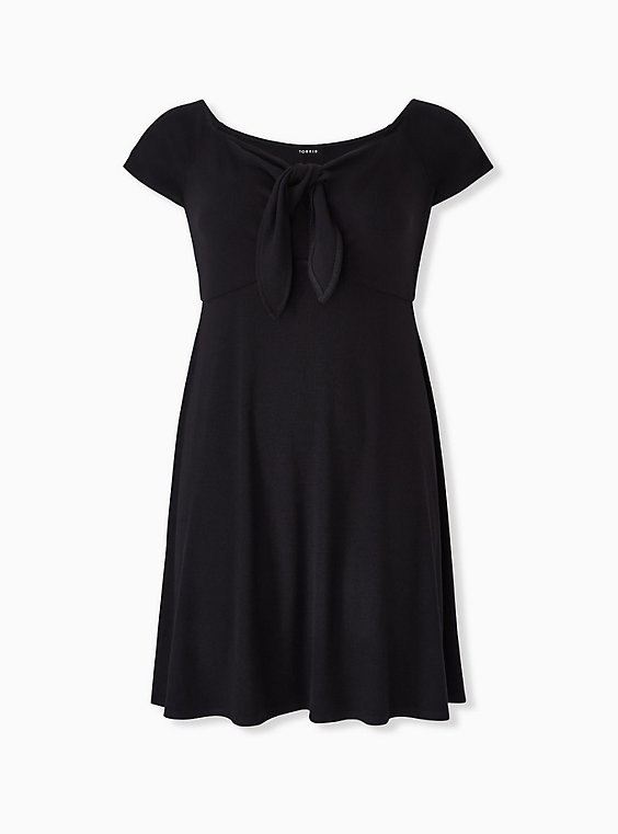 Plus Size Black Rib Tie Front Skater Dress, , hi-res