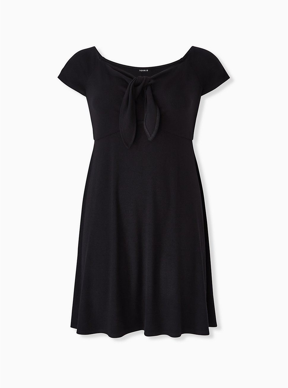 Black Rib Tie Front Skater Dress, DEEP BLACK, hi-res