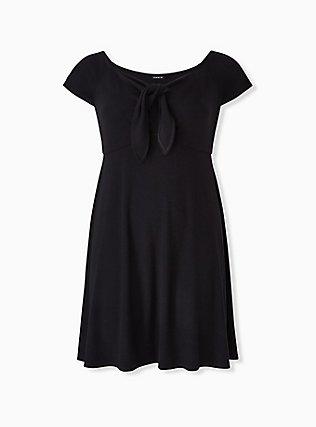 Black Rib Tie Front Skater Dress, DEEP BLACK, hi-res
