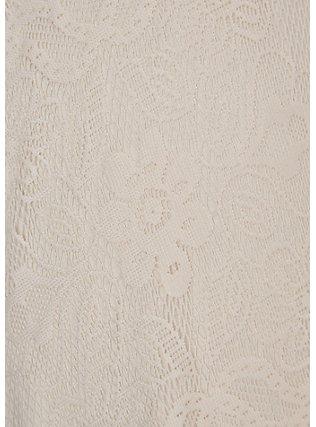 Ivory Lace Crochet Trim Crop Top & Skirt Set , BIRCH, alternate
