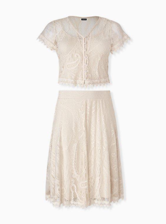 Plus Size Ivory Lace Crochet Trim Crop Top & Skirt Set , , hi-res