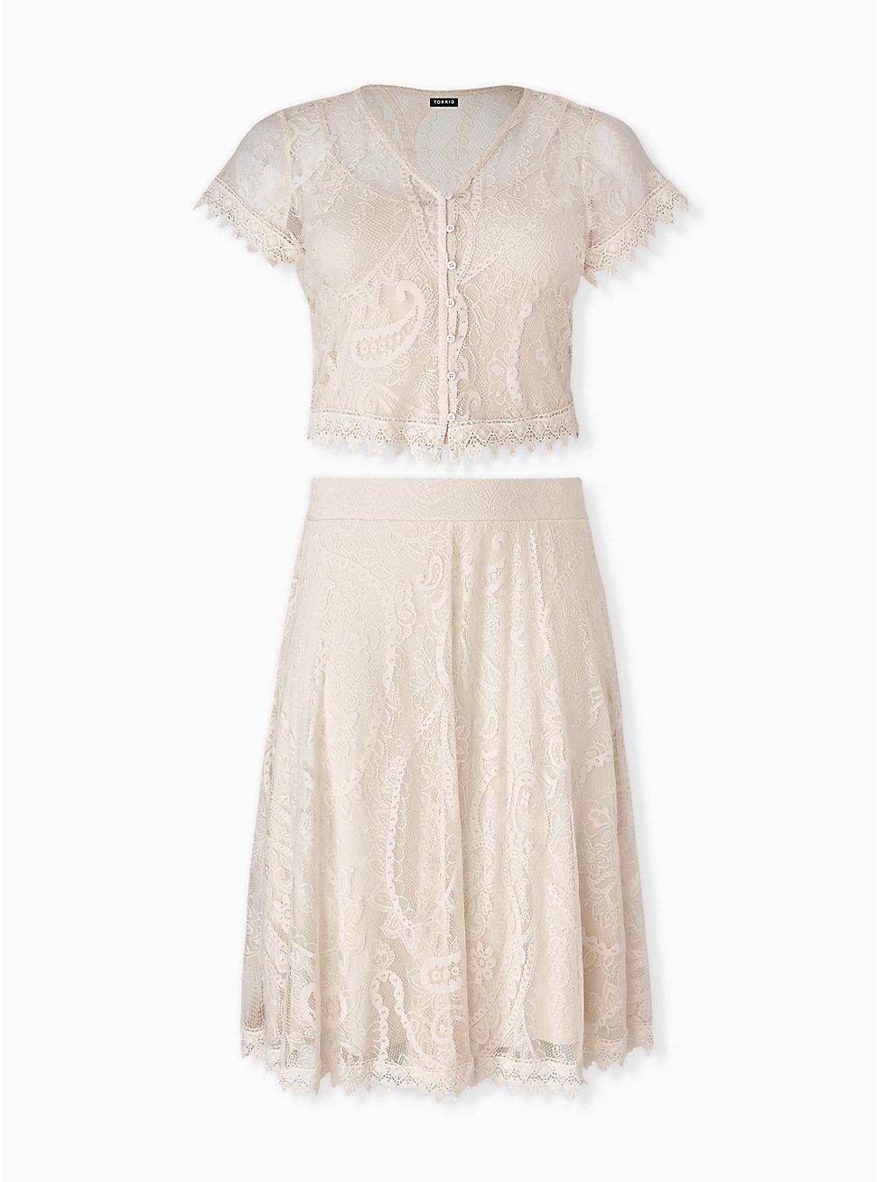 Plus Size Ivory Lace Crochet Trim Crop Top & Skirt Set , BIRCH, hi-res