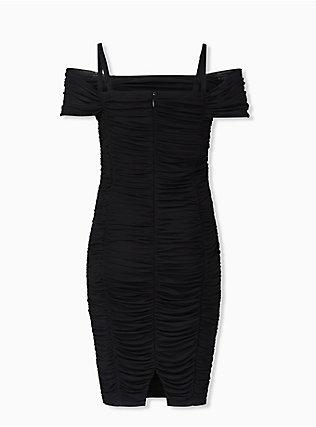 Black Mesh Ruched Cold Shoulder Bodycon Dress, DEEP BLACK, alternate