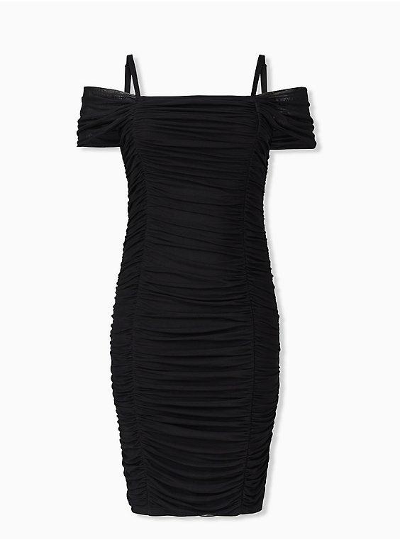 Black Mesh Ruched Cold Shoulder Bodycon Dress, , hi-res