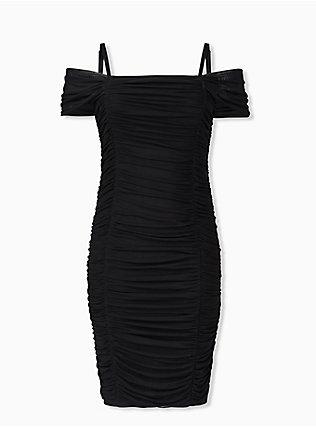 Black Mesh Ruched Cold Shoulder Bodycon Dress, DEEP BLACK, hi-res