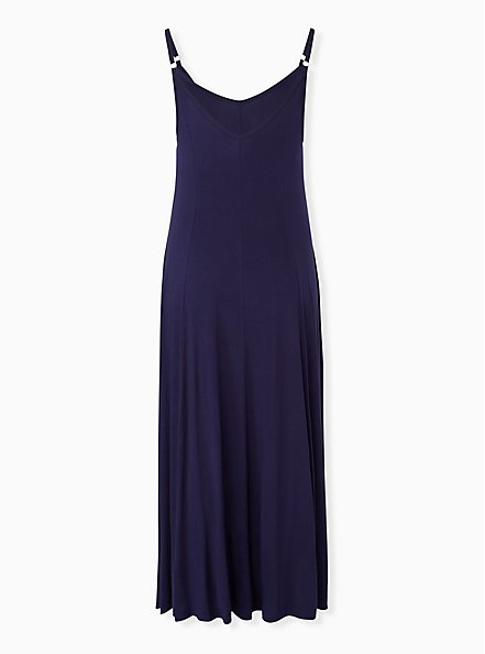 Super Soft Navy Trapeze Maxi Dress, PEACOAT, alternate